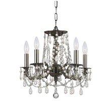 Crystorama 5545-PW-CL-SAQ Gramercy 5 Light 15 inch Pewter Mini Chandelier Ceiling Light in Swarovski Spectra (SAQ), Pewter (PW)
