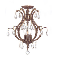 Dawson 3 Light 16 inch Antique Brass Semi Flush Mount Ceiling Light in Antique Brass (AB), Clear Hand Cut