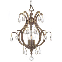 Dawson 3 Light 16 inch Antique Brass Mini Chandelier Ceiling Light in Antique Brass (AB), Clear Swarovski Strass