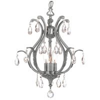 Dawson 6 Light 16 inch Pewter Mini Chandelier Ceiling Light in Hand Cut, Pewter (PW)