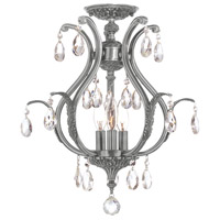 Dawson 6 Light 16 inch Pewter Semi Flush Mount Ceiling Light in Swarovski Elements (S), Pewter (PW)