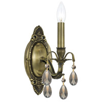 Dawson 1 Light 5 inch Antique Brass Wall Sconce Wall Light in Golden Teak (GT), Swarovski Elements (S), Antique Brass (AB)