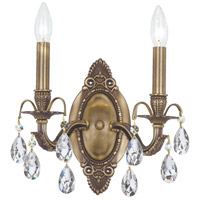 Crystorama Dawson 2 Light Wall Sconce in Antique Brass with Swaroski Strass Crystals 5562-AB-CL-S