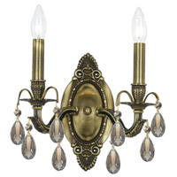 Crystorama Dawson 2 Light Wall Sconce in Antique Brass with Swarovski Elements Crystals 5562-AB-GTS