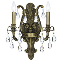 Crystorama Dawson 2 Light Wall Sconce in Antique Brass with Swaroski Strass Crystals 5563-AB-CL-S
