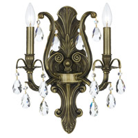 Crystorama Dawson 2 Light Wall Sconce in Antique Brass with Swarovski Spectra Crystals 5563-AB-CL-SAQ
