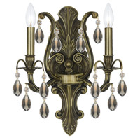 Crystorama Dawson 2 Light Wall Sconce in Antique Brass, Golden Teak, Swarovski Elements 5563-AB-GTS