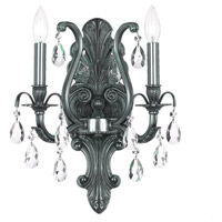 Dawson 2 Light 13 inch Pewter Wall Sconce Wall Light in Pewter (PW), Clear Swarovski Strass