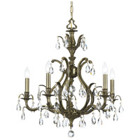 Dawson 5 Light 27 inch Antique Brass Chandelier Ceiling Light in Clear Crystal (CL), Hand Cut, Antique Brass (AB)