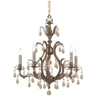 Crystorama Dawson 5 Light Chandelier in Antique Brass with Hand Cut Crystals 5565-AB-GT-MWP