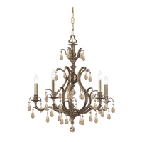 Dawson 5 Light 27 inch Antique Brass Chandelier Ceiling Light in Swarovski Elements (S)