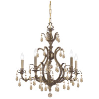 Crystorama Dawson 5 Light Chandelier in Antique Brass, Swarovski Elements 5565-AB-GTS