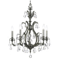 Dawson 5 Light 27 inch Pewter Chandelier Ceiling Light in Clear Crystal (CL), Hand Cut, Pewter (PW)