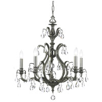 Crystorama 5565-PW-CL-SAQ Dawson 5 Light 27 inch Pewter Chandelier Ceiling Light