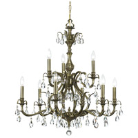 Dawson 9 Light 30 inch Antique Brass Chandelier Ceiling Light in Clear Crystal (CL), Hand Cut, Antique Brass (AB)