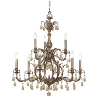 Crystorama 5569-AB-GTS Dawson 9 Light 30 inch Antique Brass Chandelier Ceiling Light