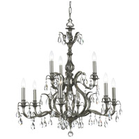 Dawson 9 Light 30 inch Pewter Chandelier Ceiling Light in Clear Crystal (CL), Swarovski Elements (S), Pewter (PW)