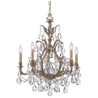 Dawson 5 Light 27 inch Antique Brass Chandelier Ceiling Light in Hand Cut, Antique Brass (AB)