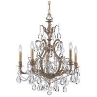 Crystorama Dawson 5 Light Chandelier in Antique Brass 5575-AB-CL-S