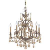 Dawson 5 Light 27 inch Antique Brass Chandelier Ceiling Light in Golden Teak (GT), Swarovski Elements (S), Antique Brass (AB)