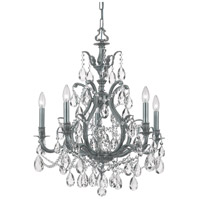 Dawson 5 Light 27 inch Pewter Chandelier Ceiling Light in Hand Cut, Pewter (PW)