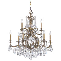 Dawson 9 Light 30 inch Antique Brass Chandelier Ceiling Light in Antique Brass (AB), Clear Swarovski Strass