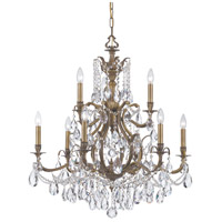 Crystorama Dawson 9 Light Chandelier in Antique Brass with Swarovski Spectra Crystals 5579-AB-CL-SAQ