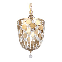 Bella 1 Light 10 inch Antique Gold Pendant Ceiling Light in Hand Cut, Antique Gold (GA)