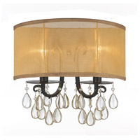 Hampton 2 Light 14 inch English Bronze Wall Sconce Wall Light in English Bronze (EB), Etruscan Smooth Teardrop Almond
