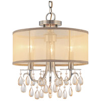 Crystorama 5623-AB Hampton 3 Light 14 inch Antique Brass Mini Chandelier Ceiling Light in Antique Brass (AB), Etruscan Smooth Teardrop Almond