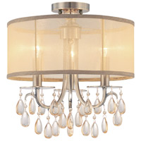 Hampton 3 Light 14 inch Antique Brass Flush Mount Ceiling Light in Antique Brass (AB), Etruscan Smooth Teardrop Almond