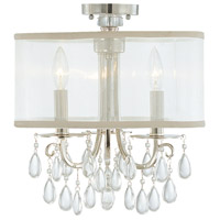 Hampton 3 Light 14 inch Polished Chrome Semi Flush Mount Ceiling Light in Polished Chrome (CH), Clear Smooth Teardrop Almond