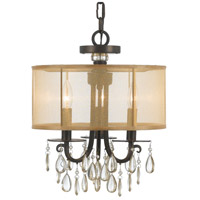 Crystorama 5623-EB Hampton 3 Light 14 inch English Bronze Mini Chandelier Ceiling Light in English Bronze (EB), Etruscan Smooth Teardrop Almond