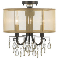 Crystorama 5623-EB_CEILING Hampton 3 Light 14 inch English Bronze Flush Mount Ceiling Light in English Bronze (EB), Clear Smooth Teardrop Almond