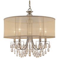 Hampton 5 Light 24 inch Antique Brass Chandelier Ceiling Light in Antique Brass (AB), Etruscan Smooth Teardrop Almond