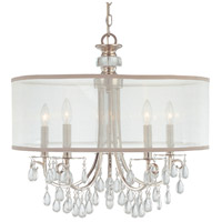 Hampton 5 Light 24 inch Polished Chrome Chandelier Ceiling Light in Polished Chrome (CH), Clear Smooth Teardrop Almond