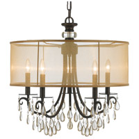 Crystorama 5625-EB Hampton 5 Light 24 inch English Bronze Chandelier Ceiling Light in English Bronze (EB), Etruscan Smooth Teardrop Almond
