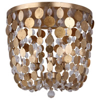 Crystorama Bella 3 Light Flush Mount in Antique Gold 563-GA