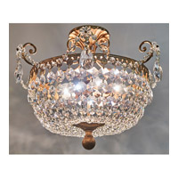 Signature 3 Light 18 inch Etruscan Gold Semi Flush Mount Ceiling Light