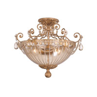 Crystorama Tuscany 3 Light Semi Flush Mount in Etruscan Gold 5635-EG