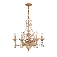 Crystorama Lighting Tuscany 7 Light Chandelier in Etruscan Gold & Etruscan Smooth Oysters 5636-EG