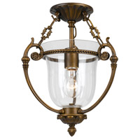 Signature 1 Light 11 inch Antique Brass Semi Flush Mount Ceiling Light in Hand Cut, Antique Brass (AB)
