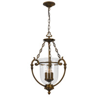 Crystorama Signature 3 Light Pendant in Antique Brass 5663-AB