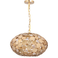 Crystorama Bella 4 Light Pendant in Antique Gold 567-GA