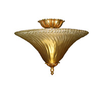 Signature 2 Light 16 inch Gold Leaf Semi Flush Mount Ceiling Light