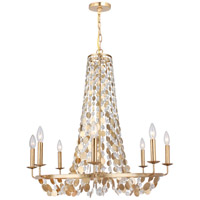 Bella 8 Light 29 inch Antique Gold Chandelier Ceiling Light in Hand Cut, Antique Gold (GA)