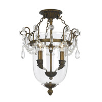 Crystorama New Town 2 Light Semi-Flush Mount in Antique Brass 5711-AB