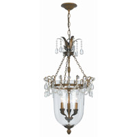 Crystorama New Town 3 Light Pendant in Antique Brass 5713-AB