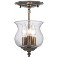 Ascott 3 Light 7 inch Antique Brass Semi Flush Mount Ceiling Light in Antique Brass (AB)