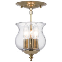 Ascott 3 Light 7 inch Polished Brass Semi Flush Mount Ceiling Light in Polished Brass (PB)